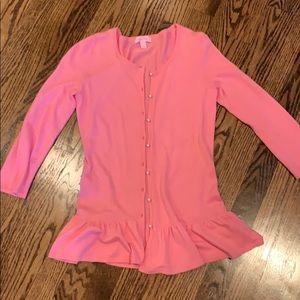 Lilly Pulitzer pink ruffle bottom sweater